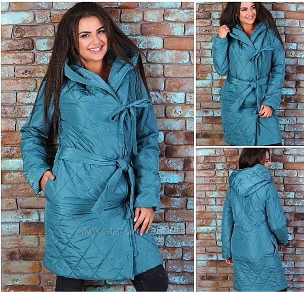 Стеганое демисезонное пальто на завязках, 42-44, 46-48, 50-52, 54-56