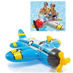 Плотик надувной Самолет с водным пистолетом, Intex 57537