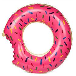 Круг надувной Пончик надкусанный, 70 см, розовый