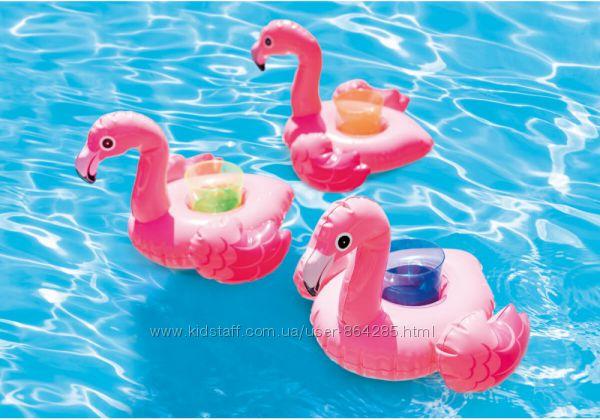 Надувной держатель для напитков Фламинго,  Единорог,  Intex, 3 шт.