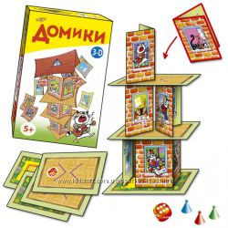 Детская настольная игра Домики 3D, суперстроитель