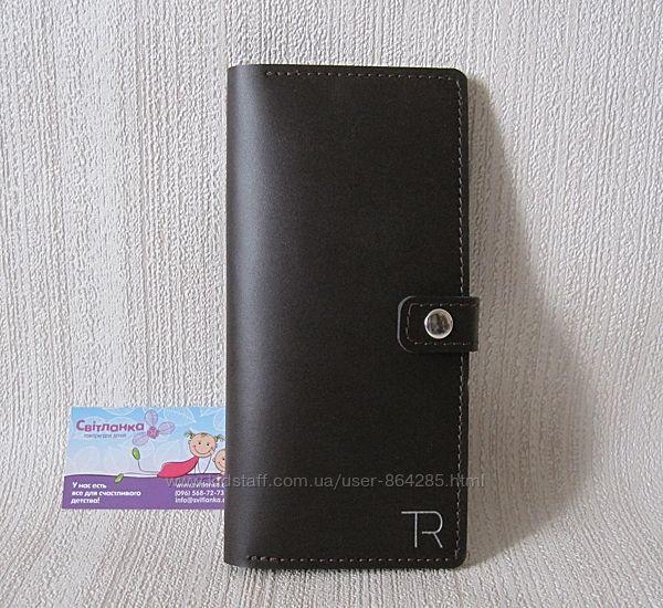 Тревел-кейс кожаный, кошелек для путешествий, черный и коричневый