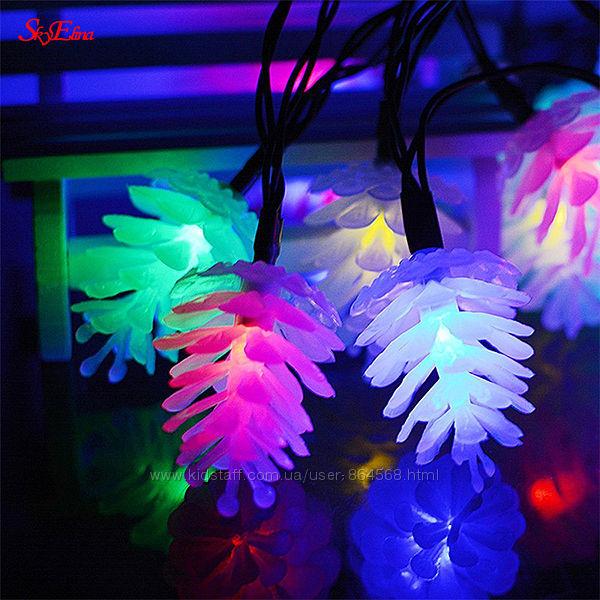 Новогодняя светодиодная гирлянда Шишки 10м. 100лампочек