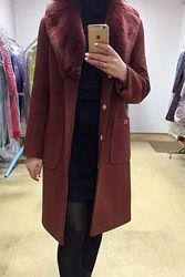 Зимнее пальто с натуральным мехом. Цвета, Размер с 42 по 48