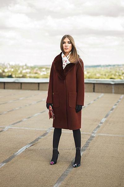Зимнее пальто. Натуральный мех. Цвета, размеры с 42 по 48