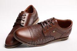 Кожаные мужские туфли броги Kristan Impression Brown