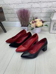 Туфли лодочки на толстом каблуке натуральная кожа, натуральный замш