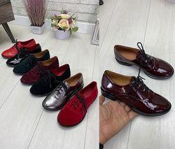Туфли на шнурках ботиночки из натуральной кожи замши