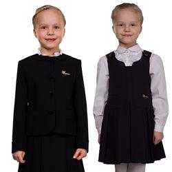 Школьный костюм для девочки серый, черный, синий, жакет сарафан школьная фо