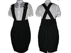 Школьный сарафан юбка с бретелями. Школьная форма для девочки пиджак, сараф