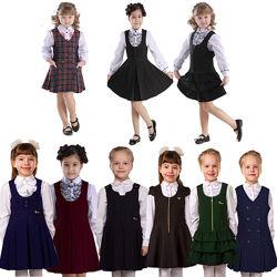 Школьные сарафаны Школьная форма для девочек синяя, черная, зеленая, клетка
