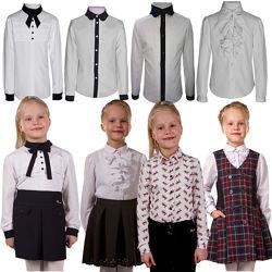 Нарядные школьные блузки белые, горошек длинный, короткий рукав  116-170