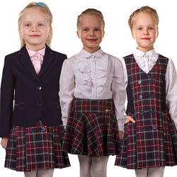 Школьный костюм, сарафан, пиджак, юбка. Школьная форма  на девочку в клетку
