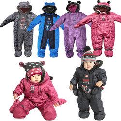 Слитные детские зимние комбинезоны для девочек, мальчиков термо бренд ПЕЛЮШ