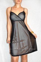 Esprit сексуальное черное сатиновое платье с телесной подкладкой