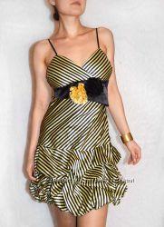 Glazza обалденное нарядное полосатое платье с цветами и пышной юбкой