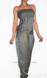 Marina grey italy  эксклюзивный шёлковый комбез с открытым декольте