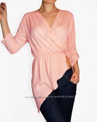 Love republic необычная нежная светло розовая косая блуза