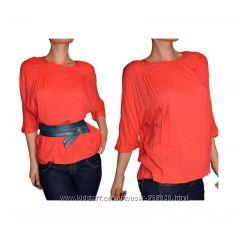 Sabra шикарная шёлковая коралловая блуза летучая мышь