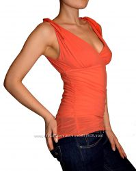 Итальянская шикарная маечка блуза на завязках лососевого цвета