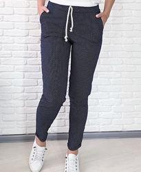 Котоновые брюки женские, брюки в горошек 42р идет на 44р