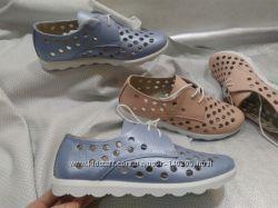 Распродажа нежно голубые кожаные  летние туфли