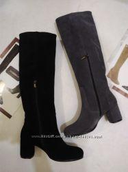 Шикарные  сапоги замшевые на каблуке 36-40р