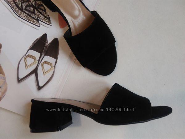 Распродажа Хит модель Мюли замшевые чёрные удобный каблук 36-41р