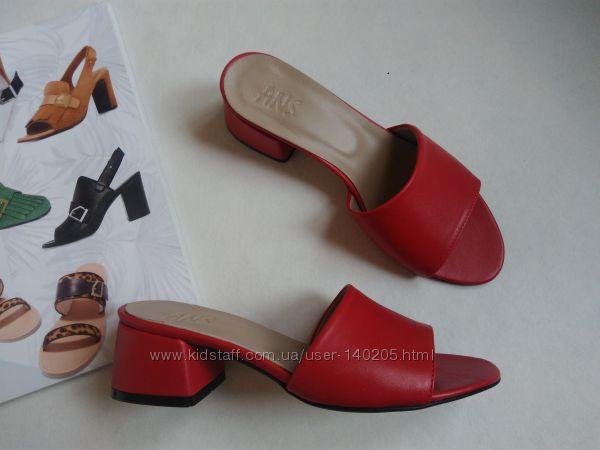 Распродажа Стильные  Мюли шлёпанцы красные кожаные