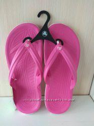 Вьетнамки Crocs Flip розовые,  белые