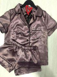 Женская пижама рубашка и шорты из атласа
