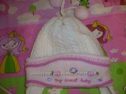 шапка зимняя двойная на девочку 3-7 лет отличное состояние