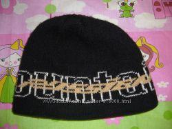 Черная зимняя шапка двойная на мальчика бу 8-12 лет