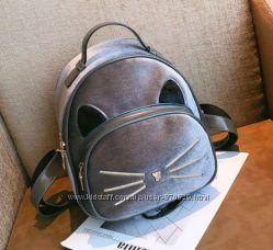 Рюкзаки бархатные Котик велюр разные