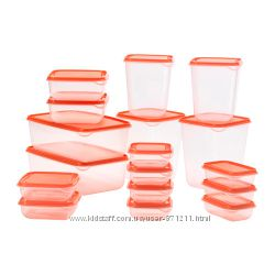 Набор контейнеров ПРУТА. PRUTA. 17 шт. Прозрачный, красный. 80251551