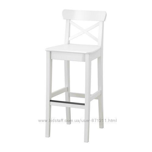 Барный стул Белый, Ингольф Ingolf Ikea Икеа 001. 217. 66 В наличии