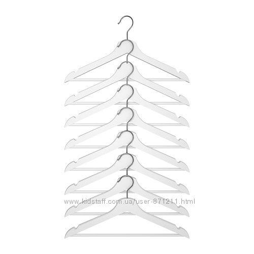 Набор плечиков 8шт белый Bumerang Бумеранг Икеа IKEA 702. 385. 41 В наличии