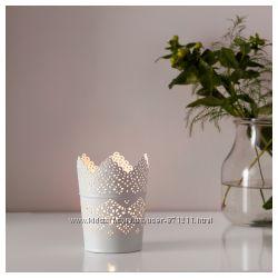 Подсвечник для греющей свечи, белый Скурар Skurar Икеа Ikea 602. 360. 43