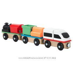 Железная дорога, поезд, 3 вагона Lillabo Икеа IKEA 603. 200. 94 В наличии