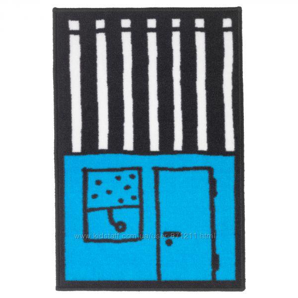 Коврик детский, голубойчерный, 50x75 см Hemmahos Икеа IKEA 703. 323. 55