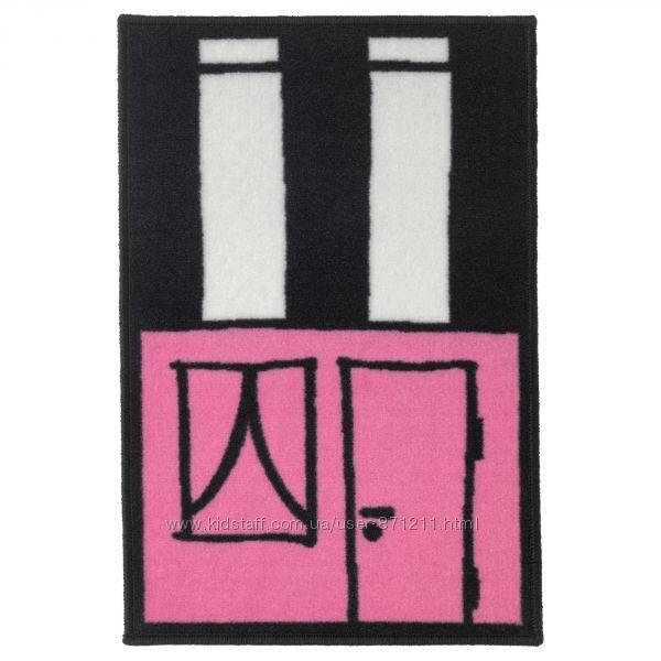 Коврик детский, розовыйчерный, 50x75 см Hemmahos Икеа IKEA 203. 323. 53