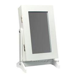 Зеркало настольное з шкафом для бижутерии, 21х15х35 см, белый  CH-4140