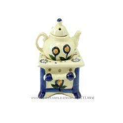 Аромалампа Чайник на подставке, керамика, бежевыйсиний OR-1061