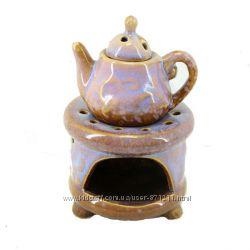 Аромалампа Чайник на подставке, керамика, фиолетовый OR-1062