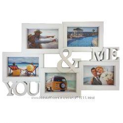 Фоторамка-коллаж на 5 фото, You&Me, пластик, белый OR-1126