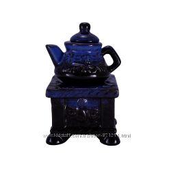 Аромалампа Чайник на подставке, керамика, черный-синий OR-1063