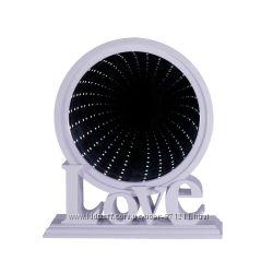 Зеркало настольное Love, с подсветкой, бесконечность, пластик OR-1065