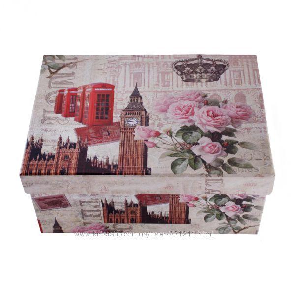 Шкатулка картонная, набор 4 шт. , с металлическими ручками, Лондон OR-1089