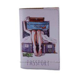 Обложка на паспорт, Девушка и чемодан, экокожа Pass-15