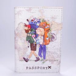 Обложка на паспорт, Путешественники, экокожа Pass-41